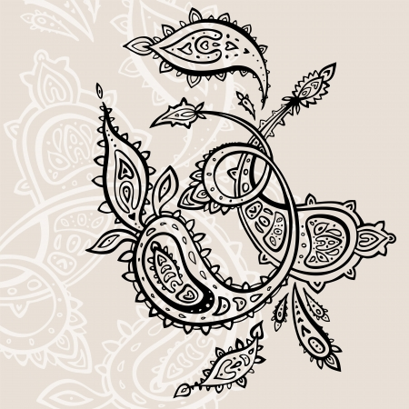 Paisley background  Hand Drawn ornament   Stock Vector - 14809185