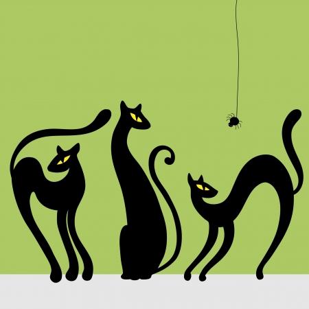 autumn cat: Set of black cat silhouettes Vector illustration