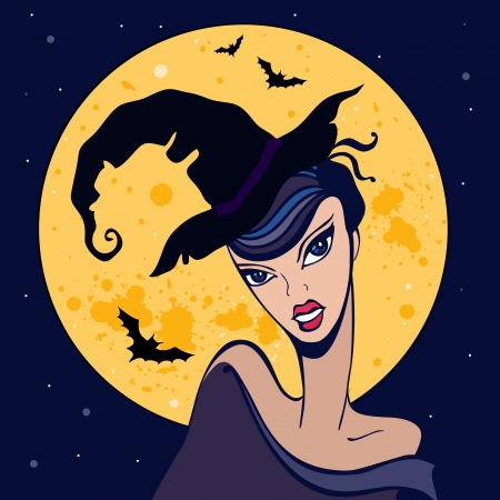 witch spider: Beautiful witch  Magic Halloween illustration  Vector background