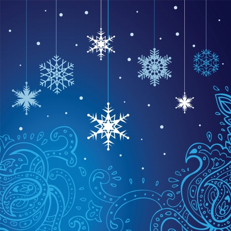 Winter snowflakes background  New Year illustration    Vector