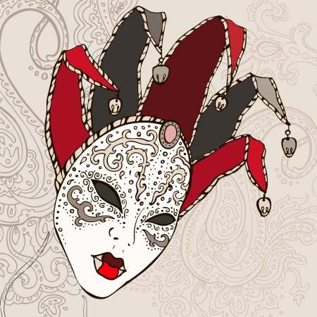 Hand Drawn Venecian  carnival mask background  Vector