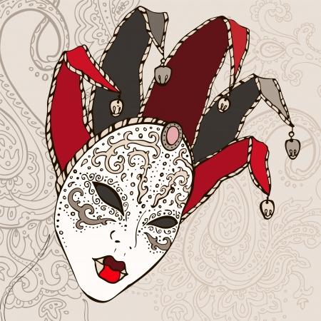 humor mask: Hand Drawn Venecian  carnival mask background