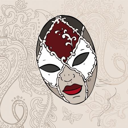 Hand Drawn Venetian  carnival mask background
