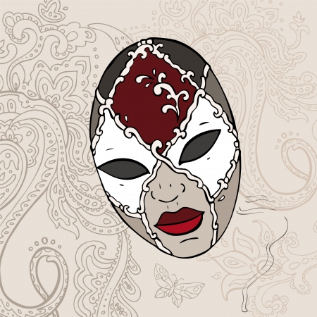 Hand Drawn Venetian  carnival mask background  Vector