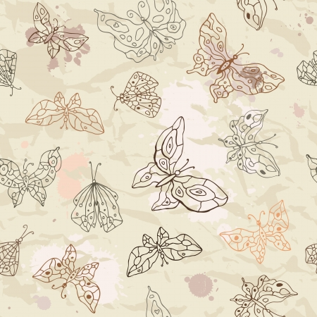 Butterfly  Vintage seamless background  Hand drawn illustration  Vector