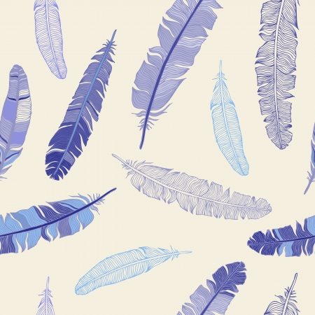 Vintage Feather seamless background  Hand drawn illustration  Vector