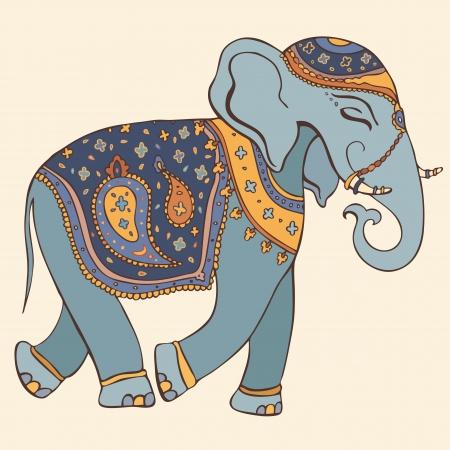 siluetas de elefantes: Dibujado a mano ilustración vectorial elefante indio estilo