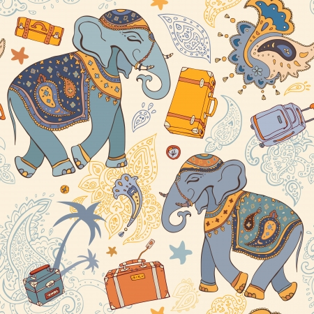 Seamless Vector pattern  Elephant  Travel Wallpaper background Vector
