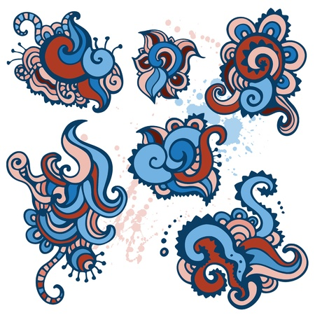 Hand drawn Ornament set   Paisley Vector illustration  Stock Vector - 15408279
