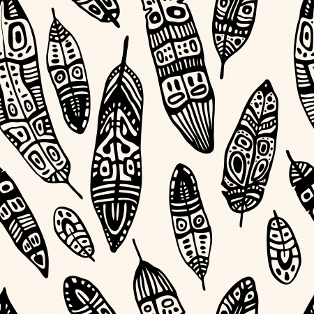 Ethnic Feather seamless background   Hand drawn illustration  Vector