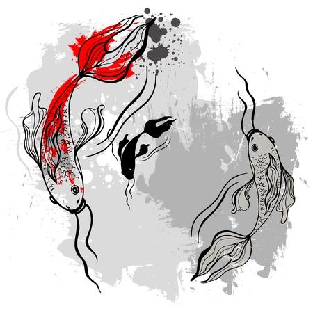 koi fish pond: Koi fishes  Japanese style Illustration
