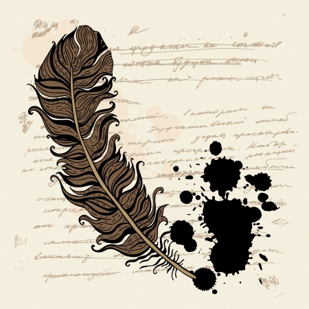 Vintage hand drawn background   Feather vector text  Vector