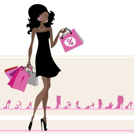 comprando zapatos: Mujer con los bolsos de compras ilustraci�n vectorial Aislados Vectores