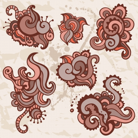 Indian Ornamental flowers  Hand drawn Vector set  Stock Vector - 16081660