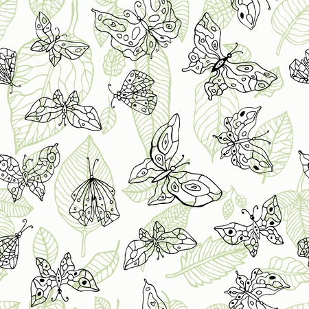 Butterfly  Nature seamless background  Hand drawn illustration  Stock Vector - 16081666