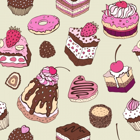 chocolate cookie: Cute cake  Seamless pattern  Multicolored Vector background