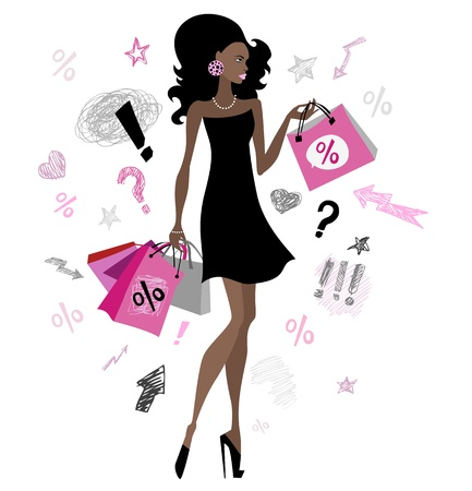 shopping questions: Woman with shopping bags   illustration  Isolated