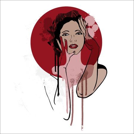 Beautiful Woman Portrait  Fashion  Illustration  Hand-drawn Stock Vector - 16279222