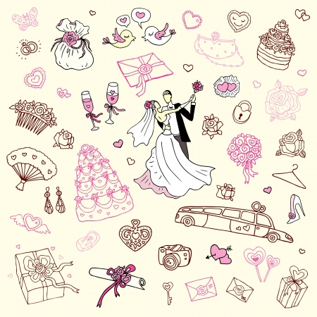Wedding set of cute hand drawn illustration  Stock Vector - 16279248