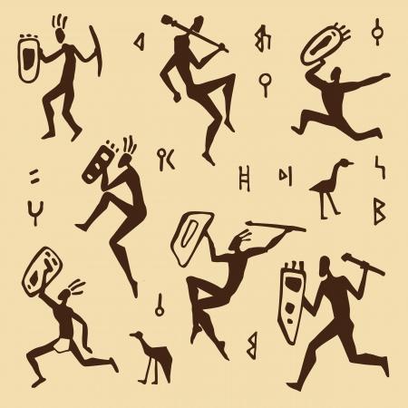 totem: Primitive peinture rupestre africain chasseurs illustration Illustration