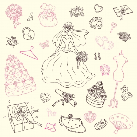 Wedding set of cute hand drawn illustration  Vector