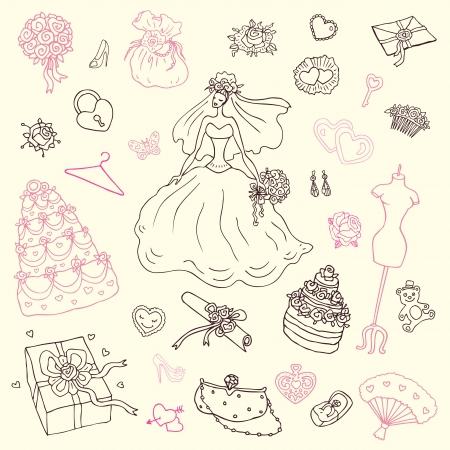 wedding bouquet: Wedding set of cute hand drawn illustration  Illustration