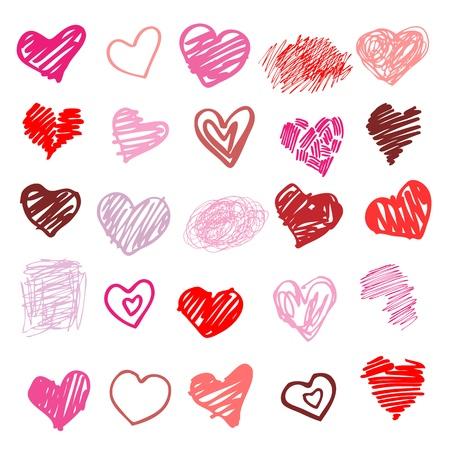 corazon en la mano: Coraz�n Conjunto de elementos de dise�o ilustraci�n