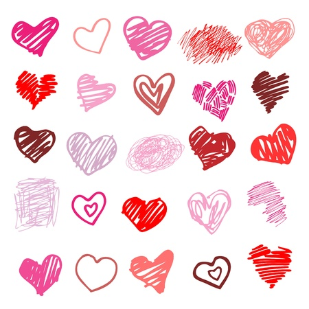 pink hearts: Heart  Set of design elements    illustration