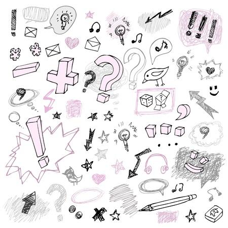 pencil sketch: Stylish grunge design set symbols  isolated Illustration