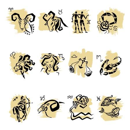 capricornio: Conjunto de s�mbolos del zodiaco hor�scopo, blanco aisladas