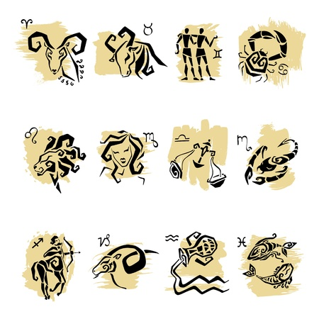 horoscope: Zodiac  Set of horoscope symbols,  white isolated