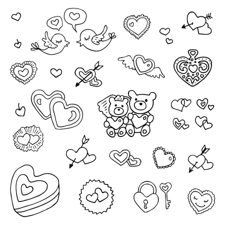 the spouse: Wedding set of cute hand drawn illustration  Illustration