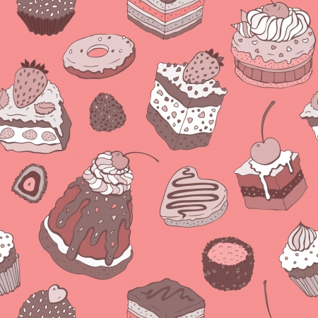 raspberry pink: Cute cake  Seamless pattern  Multicolored