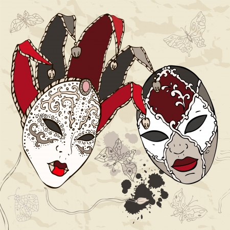Hand Drawn Venetian  carnival masks  Vector background  Иллюстрация