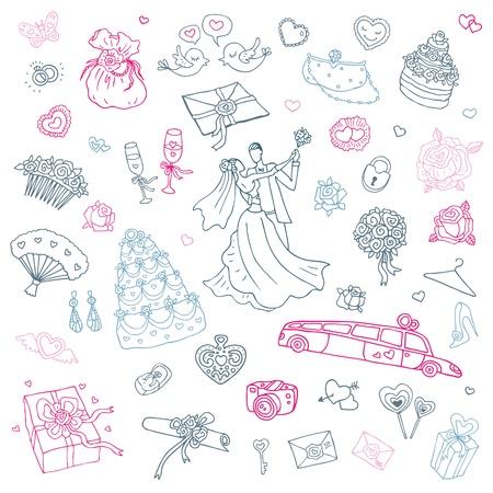 かわいい手描きイラストの結婚式セットのイラスト素材・ベクタ