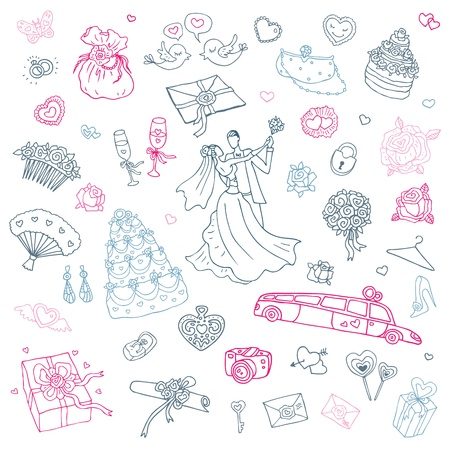 Wedding set of cute hand drawn illustration  Stock Vector - 17333562