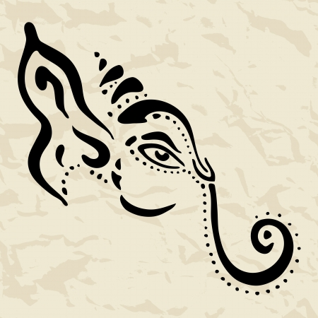 stock clip art icon: Hindu God Ganesha  Vector hand drawn illustration