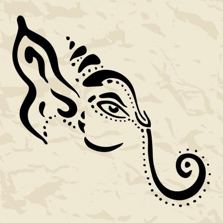 black gods: Hindu God Ganesha  Vector hand drawn illustration
