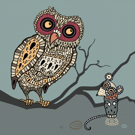 Decorative Owl and  Mouse  Cartoon illustration  Vector