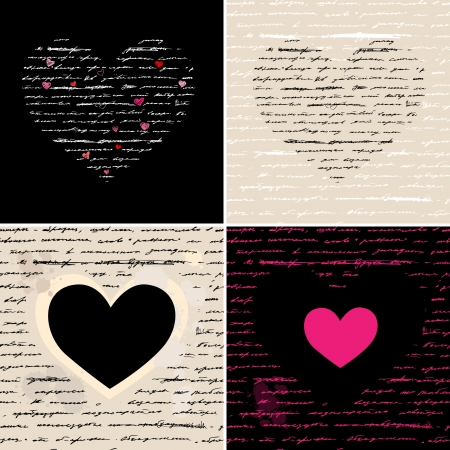 Heart design elements  Love  Handwriting vector background  Stock Vector - 17378709