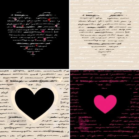 Heart design elements  Love  Handwriting vector background Stock Vector - 17378709
