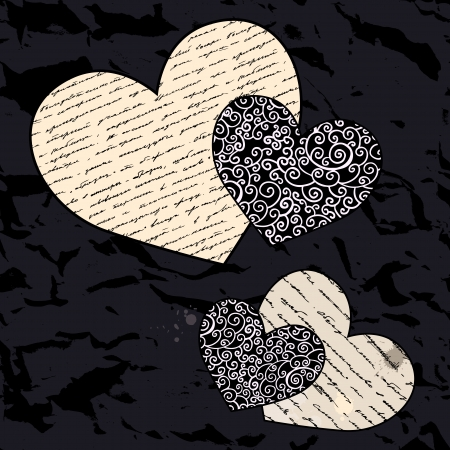 Heart design elements  Love  Handwriting vector background Stock Vector - 17378710