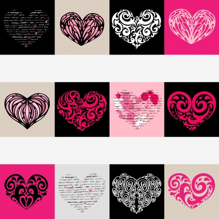 Heart design elements  Love  Handwriting vector background  Stock Vector - 17378708