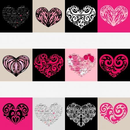 Heart design elements  Love  Handwriting vector background Stock Vector - 17378708
