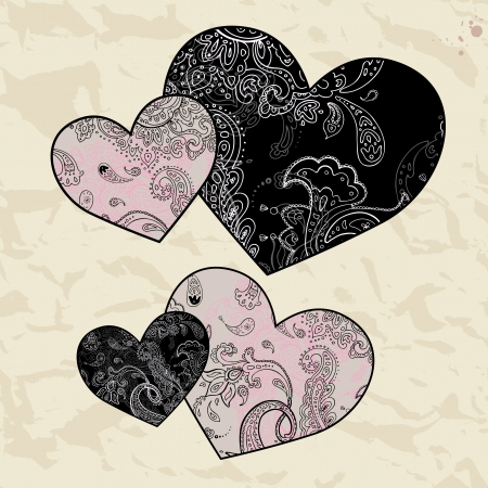 Heart design elements  Love  Handwriting background  Stock Photo - 17403952