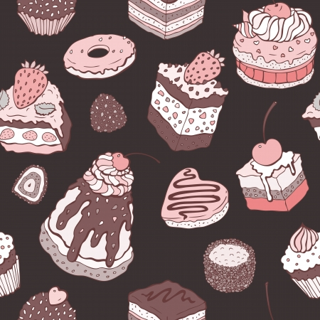 Cute cake  Seamless pattern  Multicolored Vector background Vector