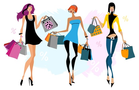 happy shopper: Three women with  shopping bags illustration  Isolated Illustration
