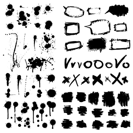 messy paint: Stylish grunge ink splits set  Design symbols isolated Illustration