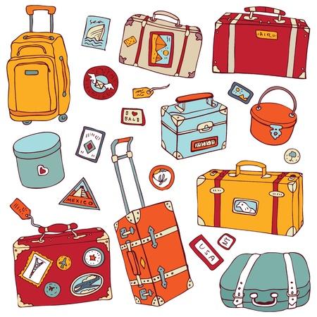 coisa: Vector cole��o de malas de viagem do vintage Ilustra��o do curso isolada Ilustra��o