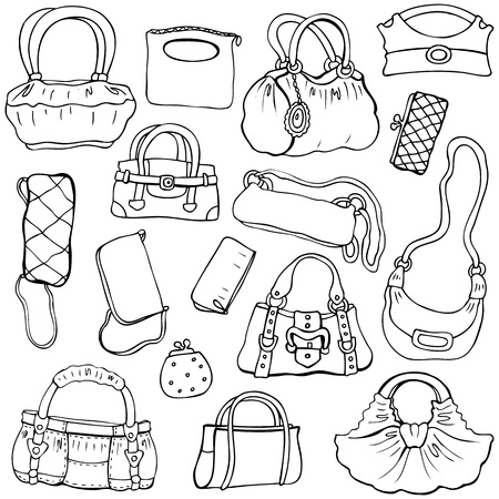 Collection design women s handbags  Hand drawn isolated  Set 2 Stock Vector - 17712385